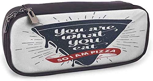 Flexible Pencil Bag Funny Words Täglicher Gebrauch Grunge Pizza Slice mit Retro-Effekt Humor Phrase über Fast Food, 3,5 x 8 x 1,5 Zoll