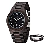 Engraved Watches for Men,Handmade Personalized Engraved Wooden Watch Lightweight Quartz Wood Watch with Date Display Customized Mens Wooden Watches for Dad/Son (Ebony Wood for Dad)
