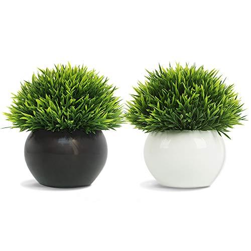 FEILANDUO 2 paquetes de plantas artificiales en maceta de césped falso para...