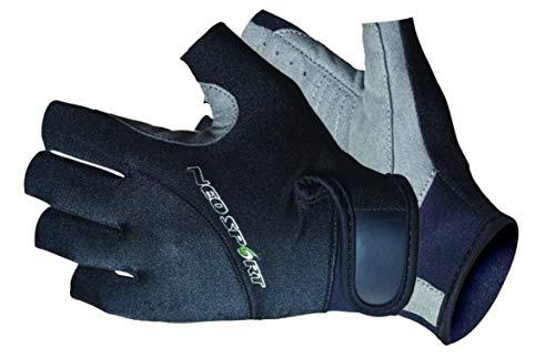 NeoSport 3/4 Fingerless Neoprene Gloves, 1.5mm Unisex Design, Biking, Sailing, Black