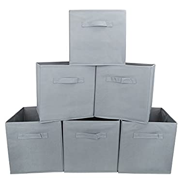 EZOWare Set of 6 Basket Bins Collapsible Storage Organizer Boxes Cube For Nursery Home Shelves and Office - Gray