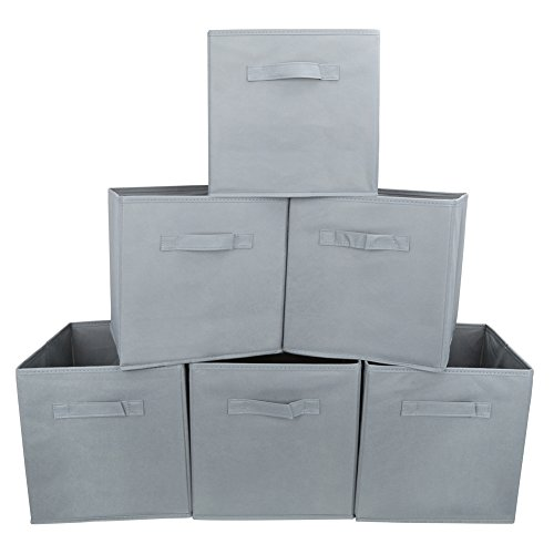 EZOWare Set of 6 Foldable Cube Storage Boxes, Organiser Basket Containers with Handles, for Home Office Nursery, 26.7 x 26.7 x 27.8 cm - Grey