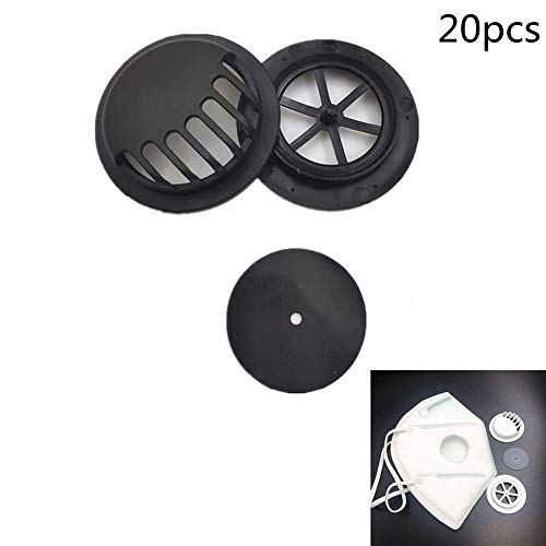 Con válvula de respiración, válvula de protección de respiración para N95 、 N100 、 R95 、 P95、9000 、 FFP2 、 FFP3, Unisex 20 PCS (negro)