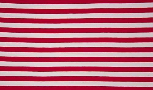 Qualitativ hochwertiger Jersey Stoff Rot/Weiß breit gestreift als Meterware zum Nähen von Baby, Kinder- und Damenkleidung, 50 cm