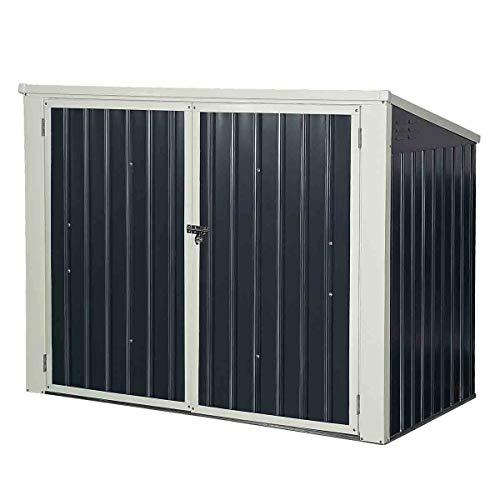GOPLUS Mülltonnenbox Gartenlagerhaus, Multifunktionaler Geräteschuppen Deckel mit Gasdruckfedern, Metallschuppen mit Abschließbarer Sicherheitstür, Gartenschrank Aufbewahrungsbox
