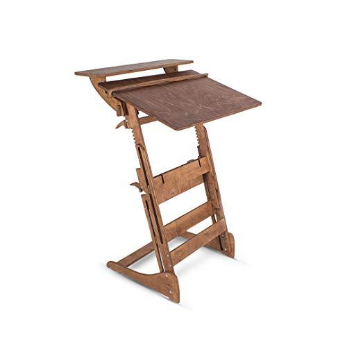Stehpult Stehtisch Typ HHH - Holz - Tisch höhenverstellbar - Gestell und Tischplatte Nuss hell - Adjust Standing Desk - Kontorka