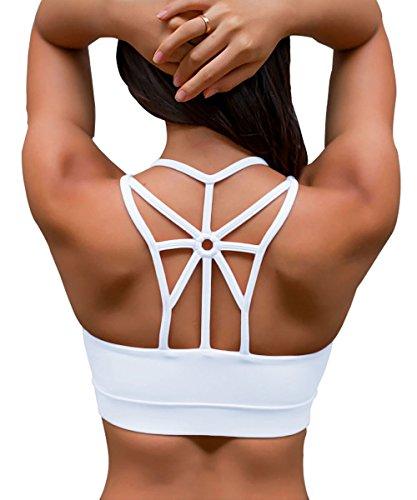 YIANNA Frauen Sport BH Racerback Bügelloser Yoga Bustier Atmungsaktiv Sports Bra Crop Top Running Fitness BH mit Polster Weiß,YA139 Size L