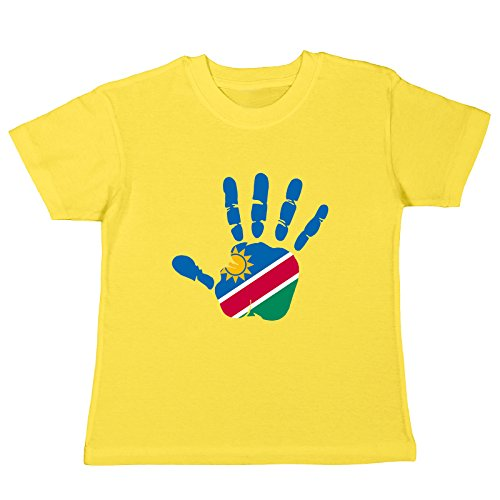 pinkelephant Kinder-T-Shirt Namibia Fahne Hand Abdruck Palm Print Finger Mano - gelb 128 (7-8 Jahre)