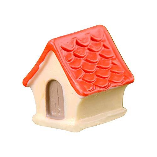 Dylandy Miniatur-Zubehör Ornamente Harz Vogelhaus Villa Modell Tierhaus Statuen Skulpturen für Mikro-Landschaft Puppenhaus DIY Fee Garten Bonsai Craft Decor, Orange, 2.0 * 1.8cm