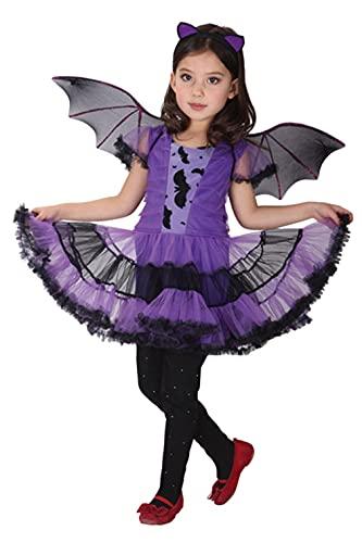 GEMVIE Disfraz de Murciélago Bruja para Niños,Disfraz de Vampirina para Halloween Vestido de Fiesta con Ala de Diadema de Murciélago 3-12 años (4-6 años)