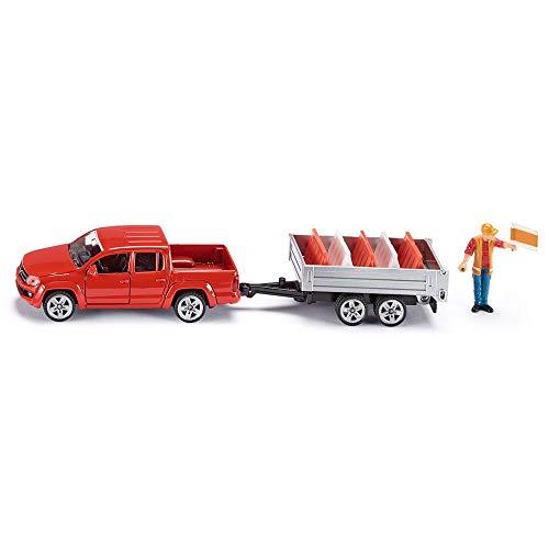 Siku 4364974 3543, Pick-Up mit Kippanhänger, 1:55, Metall/Kunststoff, Rot, Inkl. Spielzeugfigur und 5 Verkehrsleitblöcke