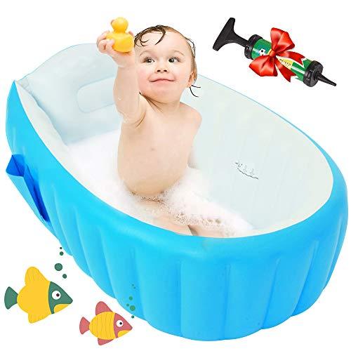 Maydolly Baby-Badewanne, weich, aufblasbar, rutschfest, faltbar, für Reisen, Dusche, Sitz, Badewanne, große Größe (für 0–3 Jahre) + Luftpumpe, Blau
