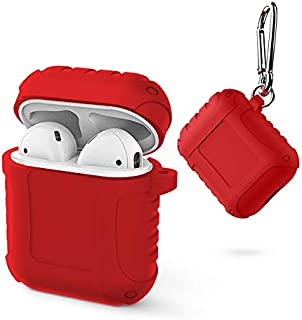 Headphones Alician Portable Silicone Protective Cover Case for AirPods Apple Headphone red