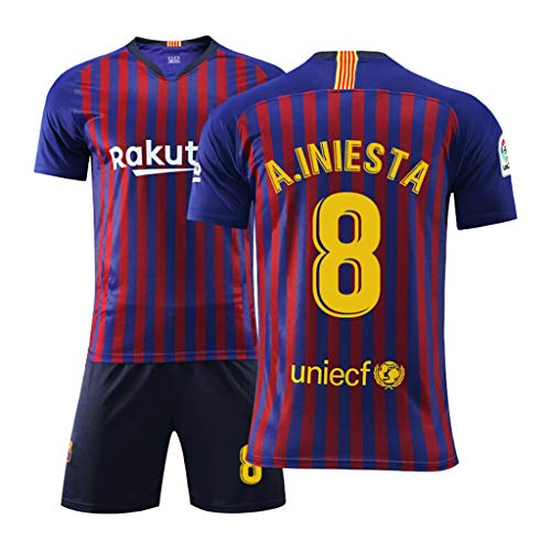 GHMEI Kinder Fußballtrikot 8# A Iniesta, Fans Fußball Männer Unisex Sportswears Sets, T-Shirts + Shorts, Trainingswettbewerb-A-22