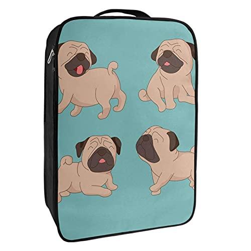 Schuh-Aufbewahrungsbox für Reisen und den täglichen Gebrauch, niedlicher Mops-Hund, Schuh-Organizer, tragbar, wasserdicht bis zu 12 m, mit doppeltem Reißverschluss, 4 Taschen