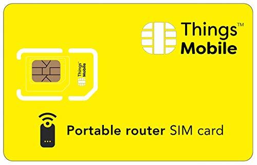 SIM-Karte für PORTABLE ROUTER - Things Mobile - mit weltweiter Netzabdeckung und Mehrfachanbieternetz GSM/2G/3G/4G. Ohne Fixkosten und ohne Verfallsdatum. 10 € Guthaben inklusive