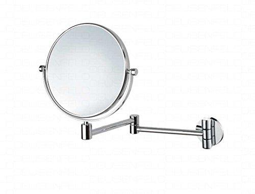 DEUSENFELD K52C - Doppel Wand Kosmetikspiegel, Rasierspiegel, Schminkspiegel, 2-Armig, 5X Vergrößerung + Normalspiegel, Ø20cm, 360° vertikal und horizontal schwenkbar, Messing verchromt, rostfrei