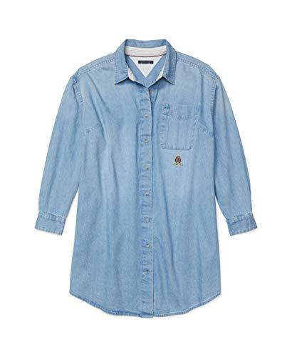 Tommy Hilfiger Damen ADP W ICON Denim Shirtdress Freizeitkleidung, Medium Wash, XX-Large