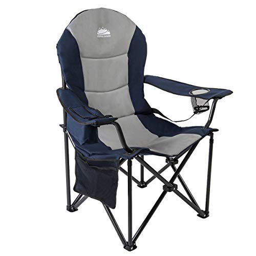 Coastrail Outdoor Camping Chair with Lumbar Back Support, Oversized Padded Lawn Chair Folding Quad Arm Chair with Cooler Bag, Cup Holder & Side...