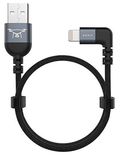 ADAM elements PeAk II Lightning auf USB Kabel für DJI Remote Controller Mavic / Spark / Phantom-Serie - grau [iPhone & Pad I MFI zertifiziert I 30cm lang I Nylon & Aluminium I Einseitig 90°]
