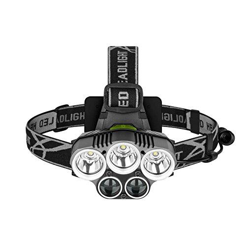 Linterna Frontal LED Recargable, 8000 Lúmenes lampara de cabeza con SOS modos impermeable Cabeza Antorcha para correr, senderismo, Camping, lectura, Senderismo, niños, pesca y más
