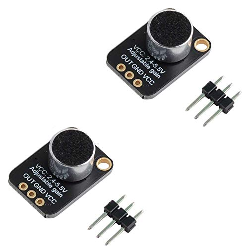 DIYmalls GY-MAX4466 Electret Microphone Amplifier Sensor Sound Module Adjustable Gain Breakout Board for Arduino (Pack of 2)