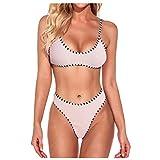 Costume da bagno sexy con lacci, riflettente, colore imbottito, bikini a triangolo da spiaggia Rosa Small