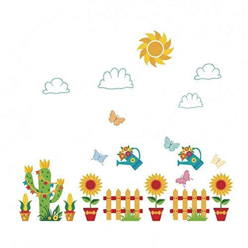 Wandaufkleber Sonnenblume Blumentopf Abnehmbare Wandaufkleber Für Kinderzimmer Kinderzimmer Wanddekoration Vinyl Kunst Aufkleber Kaktus Zaun Wandbilder Wallpaper