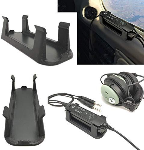 David Clark DC One/Pro Aviation Headset Control Mount Clip Adapter Accessory Upgrade, Black, Better Than Shirt Clip, Dual Plug, 6-pin, U-174 Compatible…