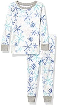 HonestBaby Organic Cotton 2-Piece Snug Fit Toddler Pajama Set Falling Snowflakes White 5T