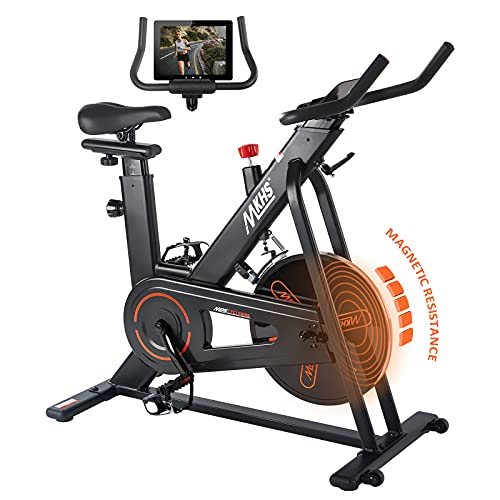 MKHS Indoor Cycling Bike Stationary, Magnetic Resistance Exercise Bike with Adjustable Seat and Handlebar, Spin Bike with Large Device Holder, Stable Quiet Belt Drive for Home Gym & Cardio Workout