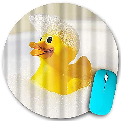 Rundes Mauspad, ein kleines gelbes Entenspielzeug, das in der Badewanne mit Schaum schwimmt, rutschfeste Gummibasis Office Home-Mauspads Klein 7,9 x 7,9 in Gaming Mousemate