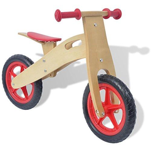 vidaXL Bicicletta Senza Pedali Bici da Equilibrio Bambini 3+ Anni Rossa in Legno