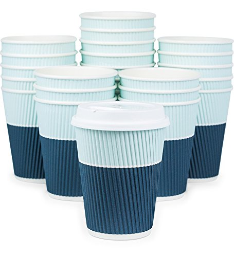 Glowcoast Disposable Coffee Cups With Lids - 12 oz To Go Coffee Cups (90 Set) With Sturdy Lids Prevent Leaks! Paper Hot Cup Holds Shape With Hot, Cold Drinks. Ripple Cups Protect Fingers from Heat!