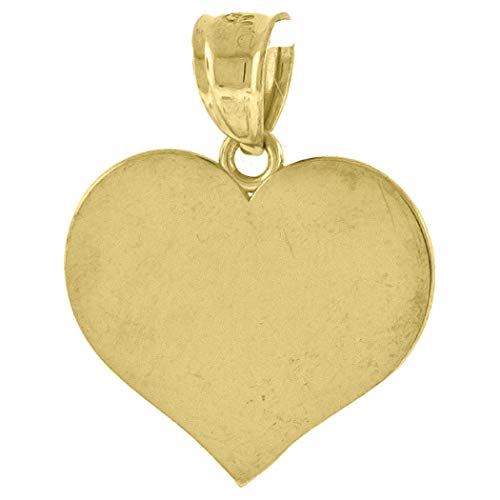 10k Yellow Gold Unisex Engraveable Flat Love Heart Charm Pendant Necklace Measures 20.9x16.80mm Wide Jewelry Gifts for Women - Higher Gold Grade Than 9ct Gold