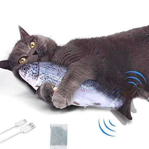 EONAZE Elektrisches Katzenspielzeug Flippity Fish, Simulation Elektrisch Spielzeug Fisch mit Katzenminze, USB Plush Fisch Kissen Kauen Spielzeug für Katze zu Spielen, Beißen, Kauen (B-Lachs)