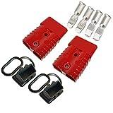 Conector de batería Set, Rojo 2 Pcs Enchufe rápido del conector de la batería para los modos de motocicleta Van del automóvil 600V 175Amp Con (4 Pcs metal terminal 1AWG)