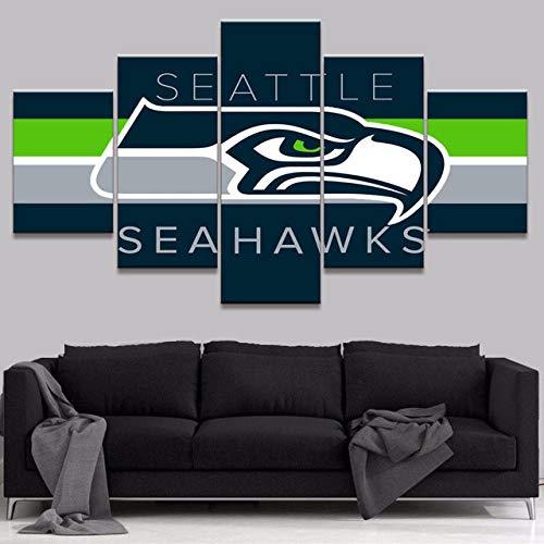 6Lv5Panel Equipo de fútbol Americano de la NFL ficha a Seattle Cuadros lienzos Salon Impresiones sobre Lienzo Regalo Impresión de 5 Piezas Material Tejido no Tejido Impresión-200 * 100cm