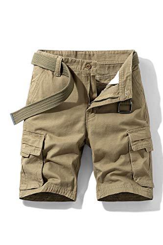 Pantalones Cortos Cargo para Hombre Bermudas de Trabajo Pantalón Corto Regular Fit Vintage Shorts con cinturón a Juego el Verano Pantalón Deportivo Estilo Casual (Caqui, 2XL)