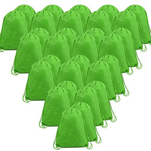 BeeGreen Green 30 Pack Bulk Drawstring Bags for Gym Sport Storage 13.5 x 16-Inch Large Drawstring Backpacks Gym Sack Sports Sackpack Men Women Teens