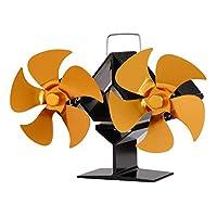 Baoblade ダブル5-ブレード熱ストーブファンウッド/ログバーナー/暖炉ミュートホーム暖炉ファン効率的な熱配布ガス木材ログストーブ - ゴールデン