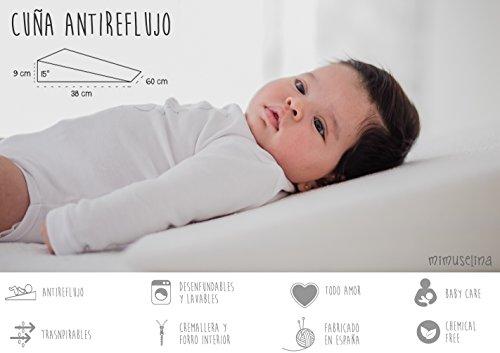 Cuña Antireflujo bebe | Almohada inclinada para cólicos (desenfundable) cuña bebe para...