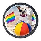 Paquete de 4 perillas para gabinete de cocina, perillas para cajones de tocador Perro gay en pelota de playa Tiradores de puerta