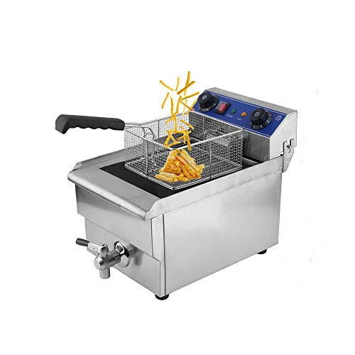 Belovedkai Electric Deep Fryer, 13L/26L Stainless Steel Commercial Electric Deep Fat Fryer Temperature Control Timing Fryer with Drain & Basket,Single Tank/Dual Tank (13L Single Tank)