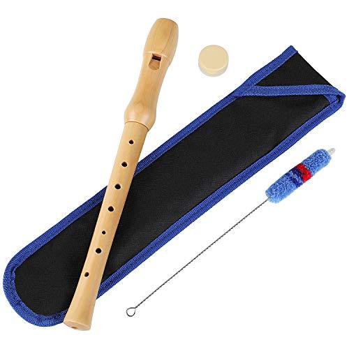 MVPower Holzblockflöte,Flöte aus Holz für Kinder und Anfänger mit Grifftabelle, Gelenkfett, Verpackungstasche und Reinigungsset
