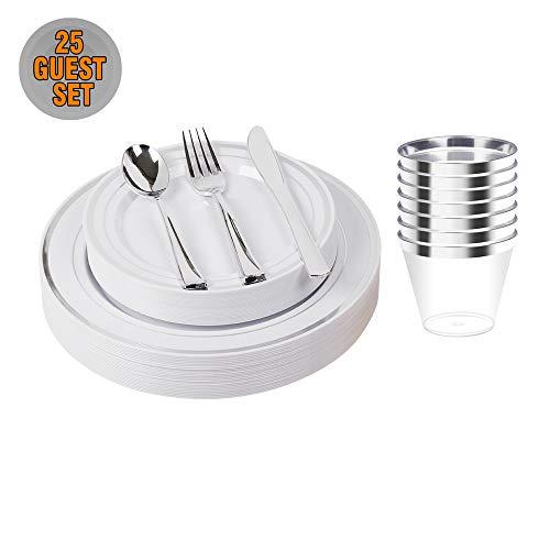 "150pcs/25 set Silver Heavyweight Disposable Plastic Plates & Cutlery Set/ Wedding Dinnerware set /Party Tableware Set Including 9oz Cups, 10.25"" Plates, 7.5"" Plates, Fork,Spoon,Knive"
