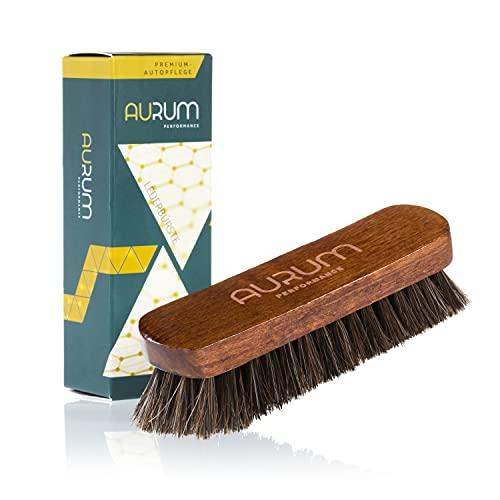 Aurum-Performance Cepillo de cuero para la limpieza suave en seco y húmedo de piel, así como para Alcantara, cepillo suave para limpieza de cuero para el cuidado del coche (cepillo de piel)