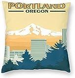 BONRI Reisestil Portland Oregon Vintage Poster Kissenbezug