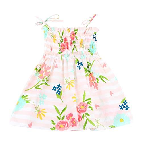 Huihong Baby Girls Kleinkind Ärmelloses Sommerkleid mit Schleife Zitronen Ananas Kirsch Druck Babykleid Partykleid Partei Festliches Kleid Sweetkleid (90, Rosa)