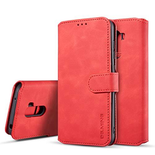 xinyunew Hülle Kompatibel mit Xiaomi Poco F1 Hülle, 360 Grad Handyhülle + Panzerglas Premium Handy Schutzhülle Leder Wallet Tasche Flip Brieftasche Etui Schale (Rot)